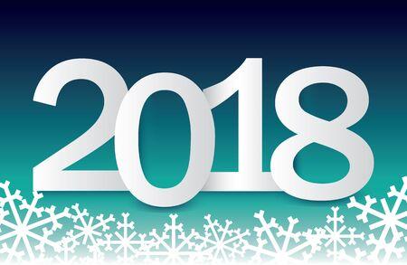 雪の結晶とグラデーションの背景と 2018 年から祭りの新年のご挨拶。新年の休日のグリーティング カードのテンプレートです。ベクトルの図。