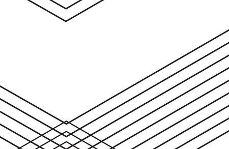 White background with intersecting black lines. Geometrical pattern. Vector illustration.