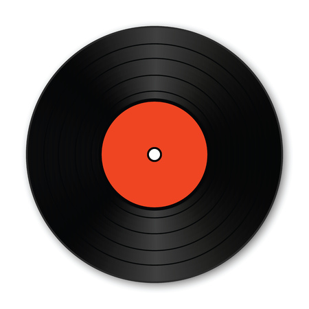 A realistic vinyl record with shadow. Vector illustration.