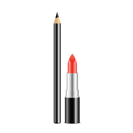 Red lipstick and black pencil isolated on white background. Decorative cosmetics for make-up. Vector illustration.