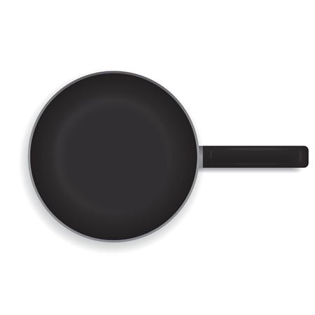 白い背景に現実的なフライパン。黒いフライパン調理用ハンドル。上からの眺め。