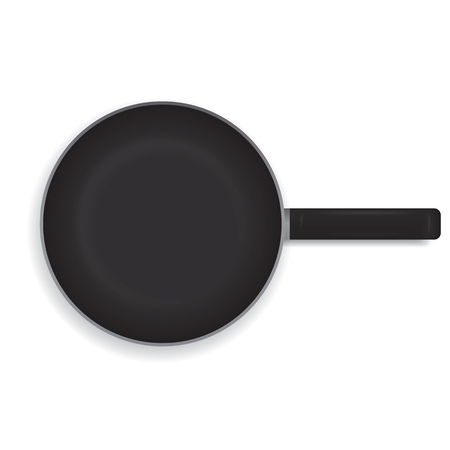 Realistic frying pan on a white background. Black frying pan with a handle for cooking. View from above.