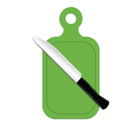 A realistic knife and a cutting green board. Kitchen accessories for cooking. Vector illustration.
