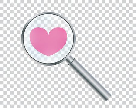 虫眼鏡で心臓。強化が大好きです。バレンタインの日の概念ベクトル イラスト。  イラスト・ベクター素材