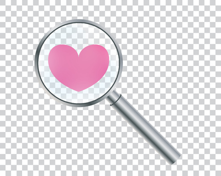 Heart under a magnifying glass. Enhanced love.Conceptual vector illustration for Valentines Day.