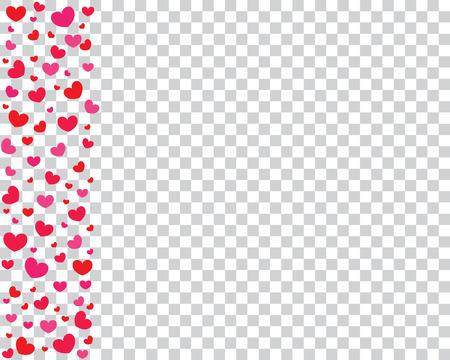 透明な背景に赤とピンクのハートとお祝い背景。バレンタインデーの背景。ベクトルの図。  イラスト・ベクター素材