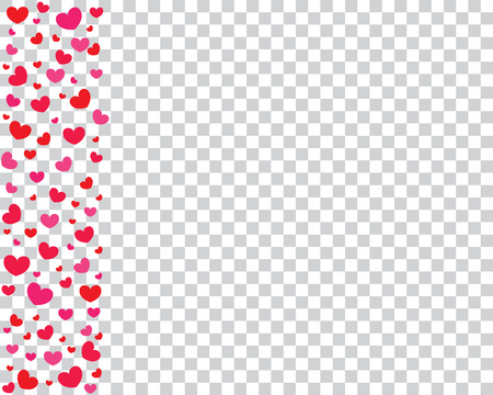 Celebratory background with red and pink hearts on a transparent background. Background for Valentine's Day. Vector illustration. Illustration