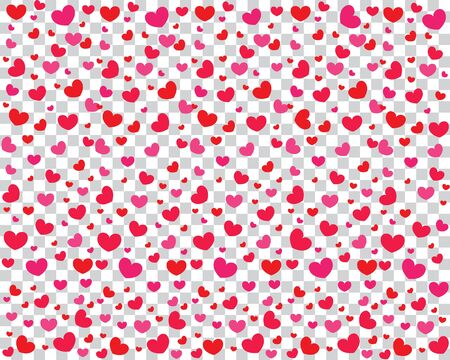 Celebratory background with red and pink hearts on a transparent background. Background for Valentines Day. Vector illustration.