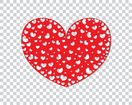 Greeting card with Valentines Day with lots of hearts. Vector illustration. Ilustracja