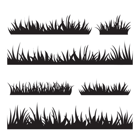 Black tufts of grass. A set of design elements of nature. Vector illustration. Ilustracja