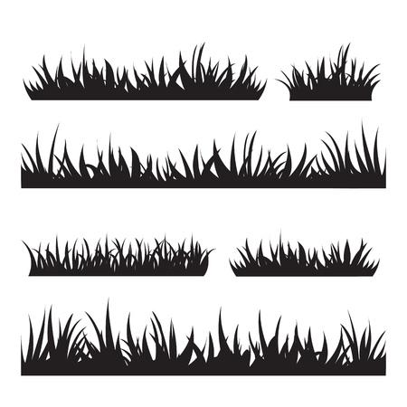 Black tufts of grass. A set of design elements of nature. Vector illustration. Illustration