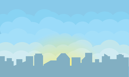 Silhouette of a big city at dawn. Vector illustration.