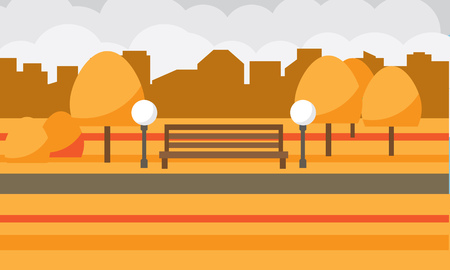 Autumn city park with a shop and lanterns. City square with houses in the background. Vector illustration.