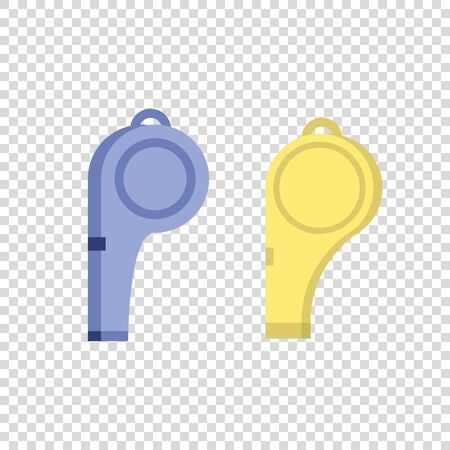 A set of sports whistles. Blue and yellow whistle on a transparent background. Vector illustration. Illustration
