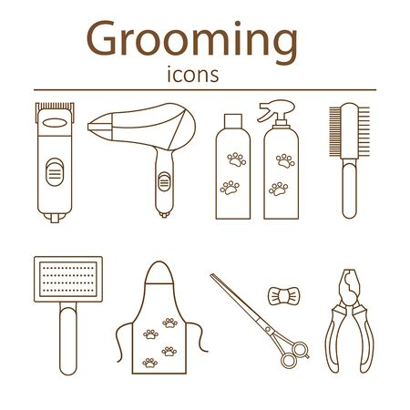 Icons for grooming in the line style. Tools and accessories for the groom. Vector illustration.