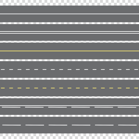 Horizontal marking of the road with two-way traffic.View from above.  Vector illustration.