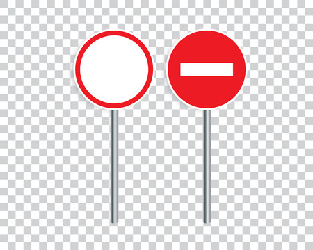 Prohibiting road signs. Entry is prohibited and traffic is prohibited. Vector illustration. Ilustracja
