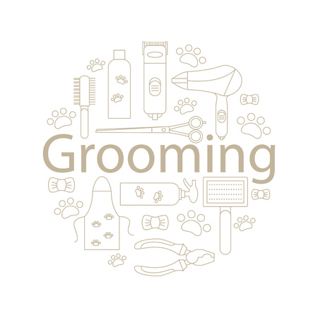 Icons for grooming in the line style. Tools and accessories for the groom. A round banner of icons for caring for animals. Vector illustration.