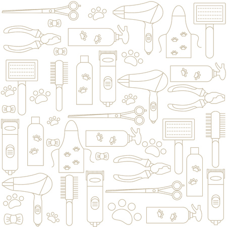 Background with icons of tools and accessories for grooming. Vector illustration.