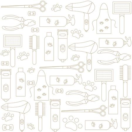 Sfondo con icone di strumenti e accessori per la toelettatura. Illustrazione vettoriale. Vettoriali