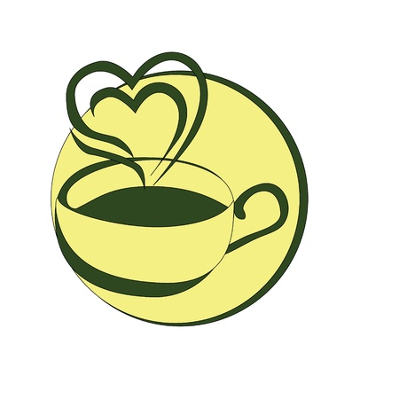 Cup of coffee with the smoke in the shape of heart Vector
