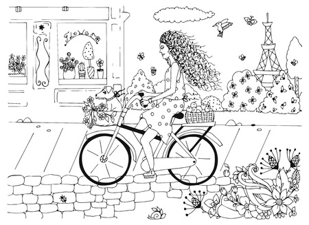Vector illustration zentangl woman, girl on a bicycle with a dog. France, walk, travel, flower shop, the Eiffel Tower. Coloring book anti stress for adults. Black and white.  イラスト・ベクター素材