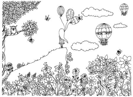 Vector illustratie zentangl meisje op de berg met ballonnen. Tuin, krabbel bloemen, wolken, boom, uil, Zenart, dudling. Het kleuren van anti-stress voor volwassenen. Zwart en wit. Volwassen kleurboeken.