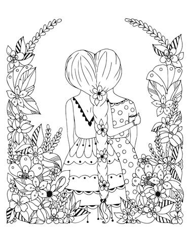 spit: Vector illustration zentangl girl friend in a flower frame, doodle, flowers, spit back. Hugs, friendship. Coloring book for adult anti-stress. Black and white. Illustration