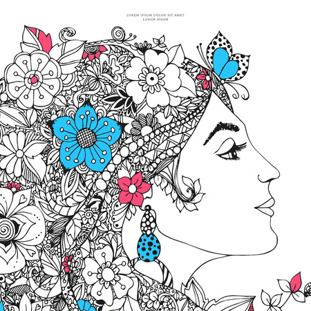 illustration card of the profile of a girl with flowers in her hair. Beauty, fashion, flowers, butterfly, snail, earring. Adult coloring books.