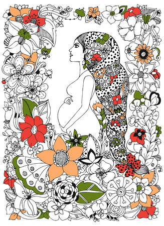 pregnant black woman: illustration pregnant woman in flower frame, doodle, flowers. Adult coloring books. Black and white.