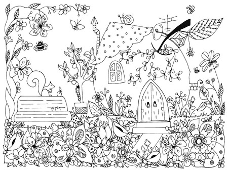 colouring: illustration park, garden: a bench, a tree with apples, flowers, doodle. Coloring anti stress for adults. Black and white.  Adult coloring books.