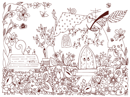 garden bench: illustration park, garden: a bench, a tree with apples, flowers, doodle. Coloring anti stress for adults. Brown and white.  Adult coloring books. Illustration