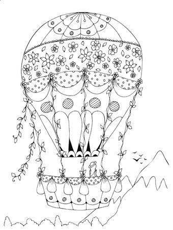 color pages: Heart-shaped  hot air balloon,  design for Valentines Day. Design for coloring book adults. Coloring page