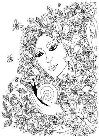 kobieta z ślimak w kolorach. Projekt dla kolorowanka dorosłych. Kolorowanie. Czarny biały. Ilustracje wektorowe
