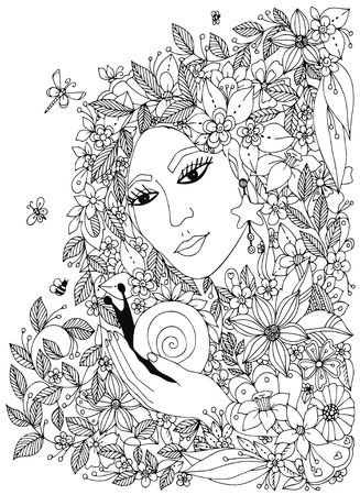 black woman: woman with snail in the colors. Design for coloring book adults. Coloring. Black & White.
