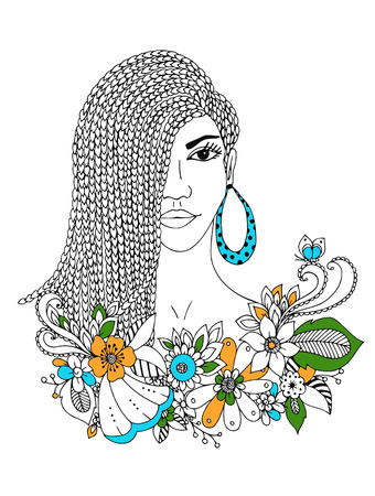 mulatto: Vector illustration portrait of African American woman, mulatto, Negro. Doodle floral frame, African braids, coloring book anti stress for adults. Black and white. Illustration