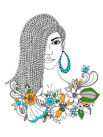Vektor-Illustration Porträt von African American Frau, Mulatte, Negro. Doodle floral frame, afrikanische Zöpfe, Malbuch Anti-Stress für Erwachsene. Schwarz und weiß.
