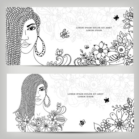 mulatto: Vector illustration cards banners woman with dreadlocks in colors. Girl portrait. black and white. Coloring book anti stress for adults. Doodle Art, mulatto, African-American.