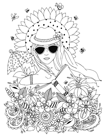 Vector illustration, doodle portrait of a woman, a girl in a floral hat box. Summer, sunglasses, umbrella, sun, sunflower. Coloring book anti stress for adults. Black and white.