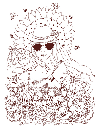 Vector illustration, doodle portrait of a woman, a girl in a floral hat box. Summer, sunglasses, umbrella, sun, sunflower. Coloring book anti stress for adults. Brown and white.