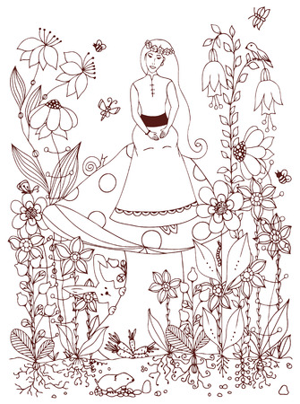 butterfly rabbit: Vector illustration girl sitting on a mushroom. Fairy story, doodle flowers, rabbit, carrot, fairy, princess, butterfly. Coloring book anti stress for adults. Brown and white.