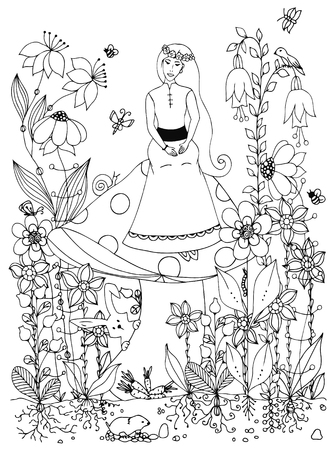 Vector illustration girl sitting on a mushroom. Fairy story, doodle flowers, rabbit, carrot, fairy, princess, butterfly. Coloring book anti stress for adults. Black and white.