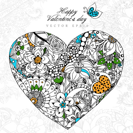 adult valentine: Vector illustration greeting card Happy Valentine  Day Heart, dudling.  Adult coloring books