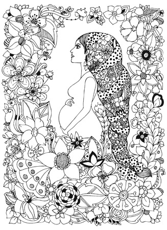black and white frame: Vector illustration pregnant woman in a flower frame, doodle, zenart flowers. Adult coloring books. Illustration