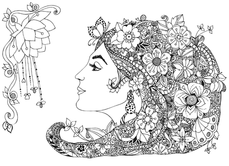 Vector illustration of the profile of a girl with flowers in her hair, zentangl. Beauty, fashion, butterfly, snail, earring. Adult coloring books.