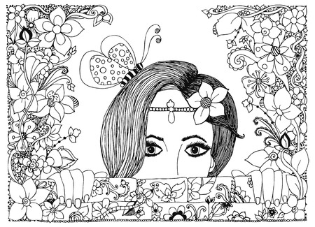 Vector illustration girl looks out of the stone walls in flowers, floral doodle frame, zenart, dudlart butterfly.  Adult coloring books.