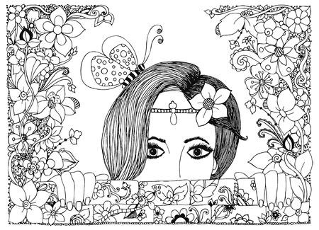 Vector illustration fille regarde sur les murs de pierre dans les fleurs, cadre de doodle floral, zenart, dudlart papillon. Adulte livres à colorier.