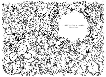 Illustrazione vettoriale cornice floreale con scollo rotondo, farfalle, fiori, scarabocchiare, Zenart, dudlart. libri da colorare per adulti.