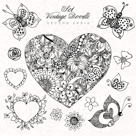 rose butterfly: Vector illustration vintage heart set in colors, rose, butterfly. Adult coloring books. Illustration