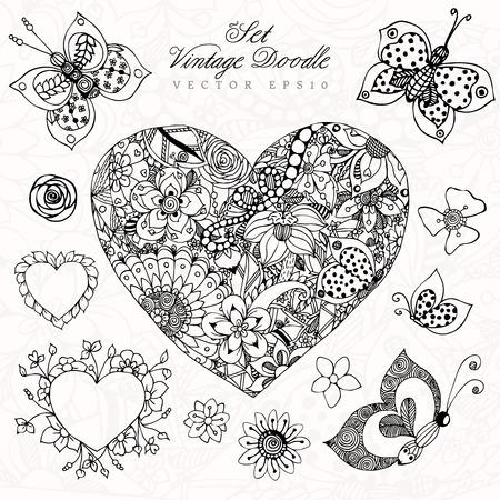 Vektor-Illustration Von Blumen Doodle. Erwachsene Färbung Bücher ...